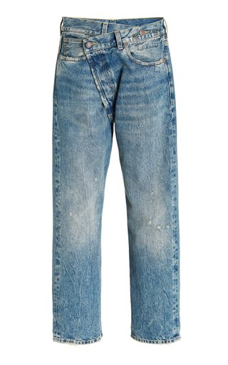 Crossover Rigid Mid-Rise Straight-Leg Jeans