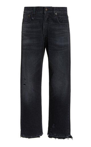 Rigid Mid-Rise Straight-Leg Boyfriend Jeans