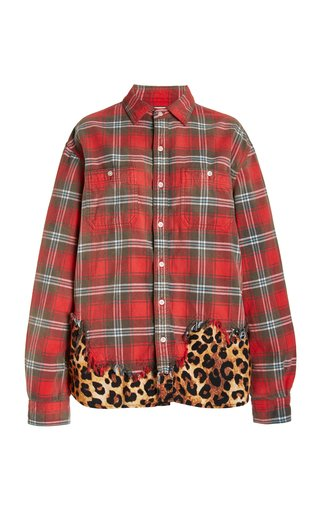 Leopard-Paneled Checked Cotton Shirt