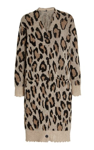 Distressed Leopard-Knit Cashmere Long Cardigan