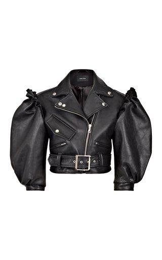 Puff-Sleeve Cropped Leather Biker Jacket