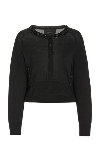 Beaded Wool-Silk Cropped Cardigan