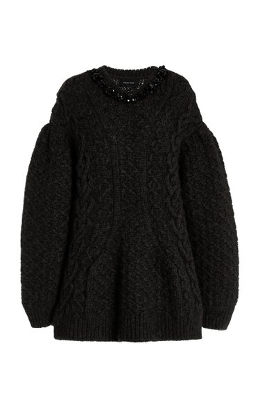 Crystal-Embellished Cable-Knit Sweater