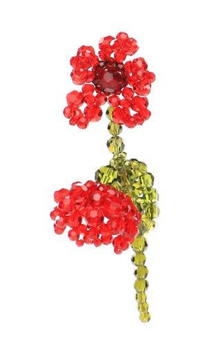 Double Crystal Flower Earrings