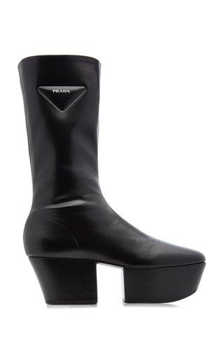 Platform Stretch Leather Boots