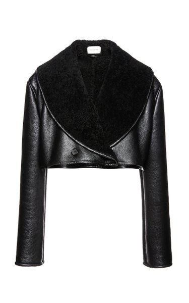 Double-Breasted Leather Cropped Jacket