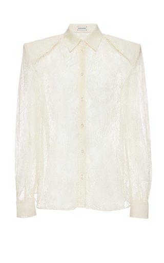Lace Button-Down Shirt