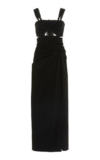 Cutout Ruched Stretch-Crepe Midi Dress