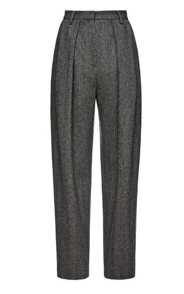 Pleated Herringbone Straight-Leg Pants