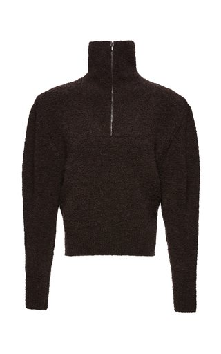 Half-Zip Wool Boucle-Knit Turtleneck Sweater