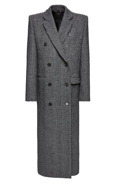 Prince Of Wales Checked Wool Double-Breasted Coat