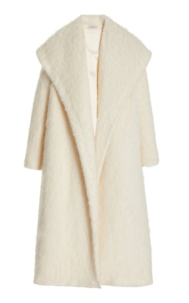 Hooded Textured-Knit Coat