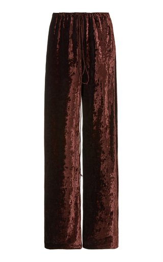 Crushed Velvet Wide-Leg Pants
