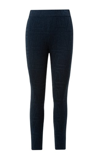 Stretch Jacquard Knit Conical-Leg Pants