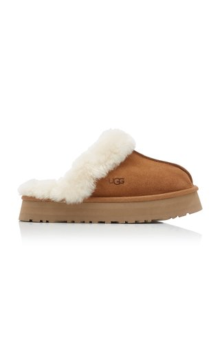 Disquette Sheepskin-Lined Suede Platform Slippers