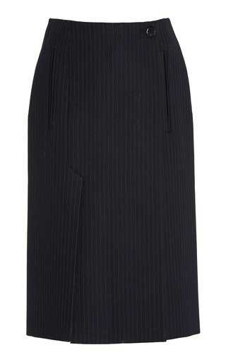 Pinstriped Wool Midi Skirt