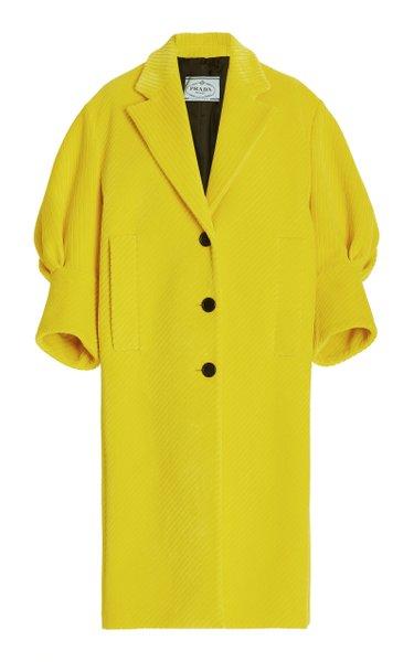 Puffed-Sleeve Cotton-Blend Coat
