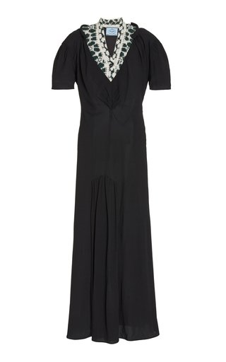 Wool-Paneled Stretch-Crepe Maxi Dress