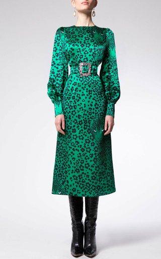 Animal-Printed Silk Dress