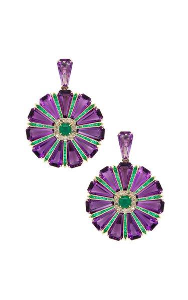 18K Yellow Gold Amethyst & Emerald Earrings