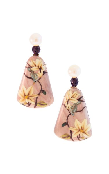18K Rose Gold Marquetry Earrings With Pearl & Bamboo