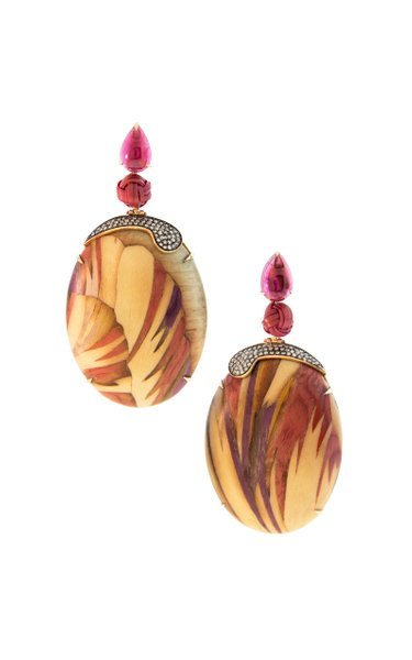 18K Yellow Gold Marquetry Earrings With Pink Tourmaline & Bamboo
