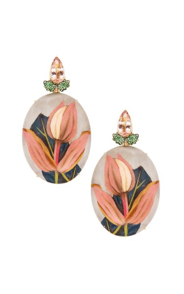 18K Yellow Gold Pink Flower Marquetry Earrings