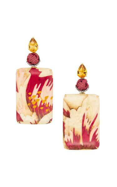 18K Yellow Gold Red & White Marquetry Earrings With Citrine & Bamboo