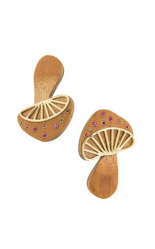 18K Yellow Gold Bamboo Mushroom Earrings