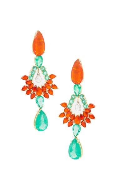 18K Yellow Gold Fire Opal & Emerald Earrings