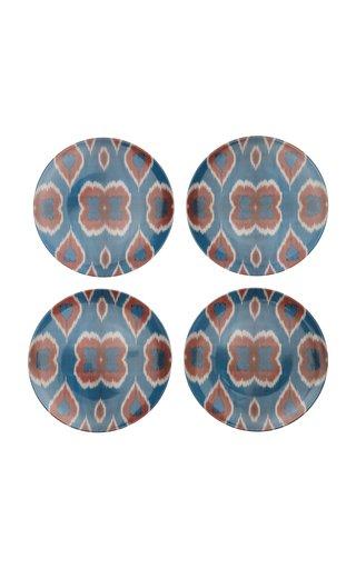 Ikat Set-Of-Four Porcelain Dinner Plates