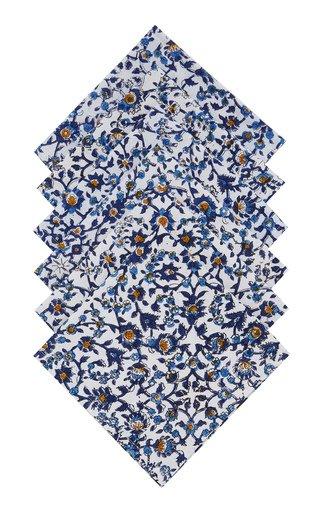 Set-Of-Six Hand-Printed Cotton Napkins