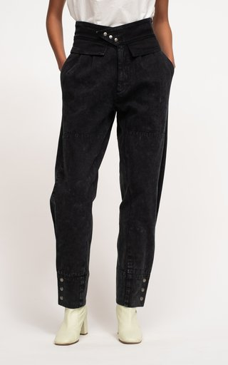 Augustina Acid Wash High-Rise Tapered Jeans