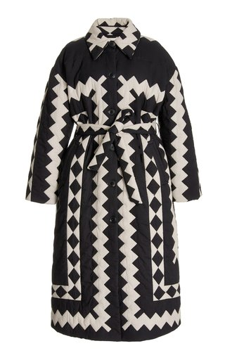 Helena Printed Belted Cotton Coat