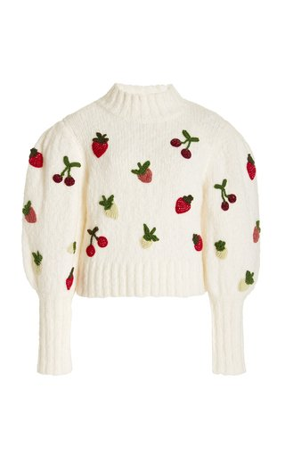 Reese Embroidered Wool-Blend Sweater