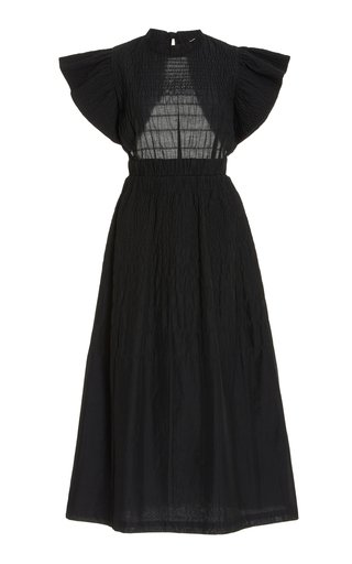 Cindy Open-Back Smocked Cotton Midi Dress