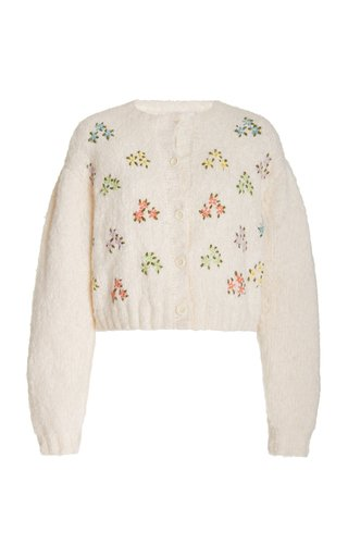 Zuri Floral-Embroidered Knit Cardigan