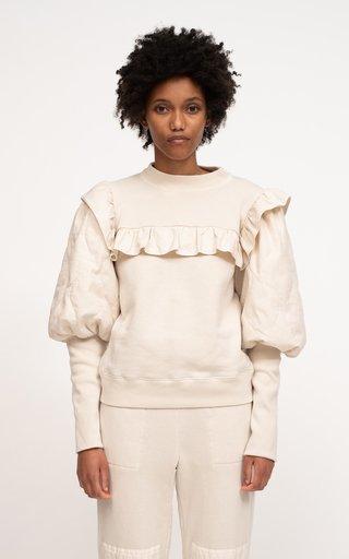 Layla Sandwashed Puffed-Sleeve Cotton Sweatshirt