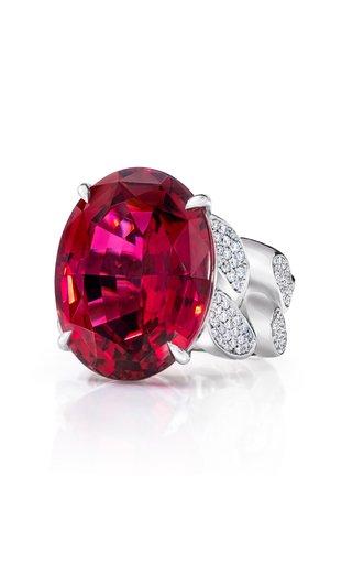18K White Gold Rubellite, Diamond Ring