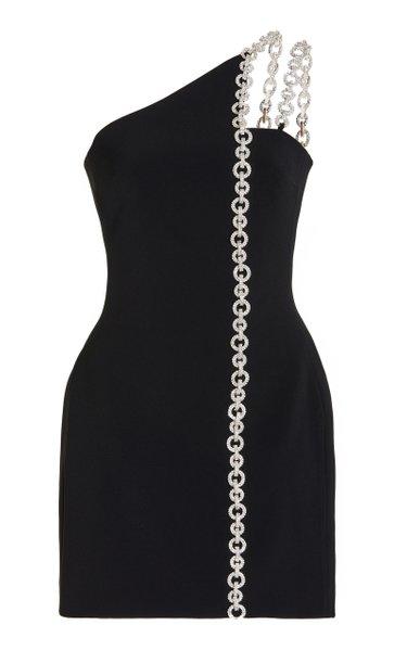 Crystal-Embellished Cady One-Shoulder Mini Dress