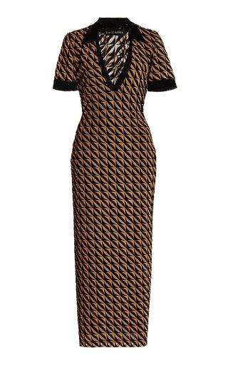 Collared Flocked Mesh Polo Midi Dress