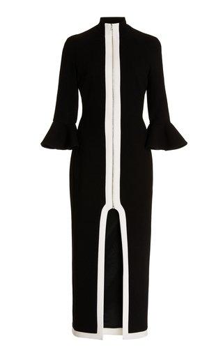 Back Cutout Virgin Wool Midi Dress