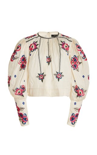 Ciameli Floral-Embroidered Silk Top