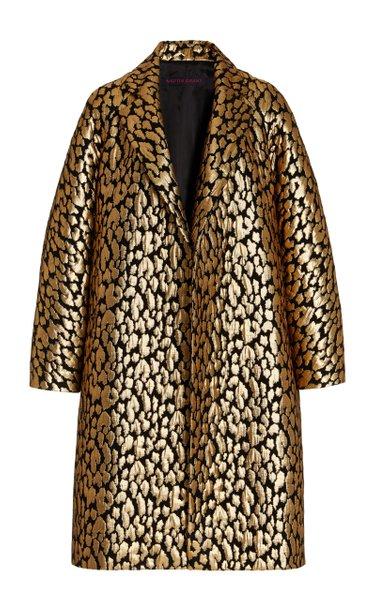Silk-Blend Metallic Brocade Cocoon Coat