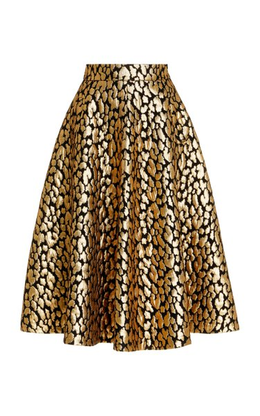 Silk-Blend Metallic Brocade Full Midi Skirt