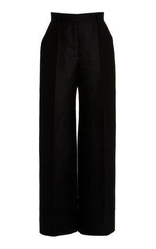 Wool-Silk Wide-Leg Trousers