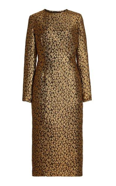 Silk-Blend Metallic Brocade Midi Sheath Dress