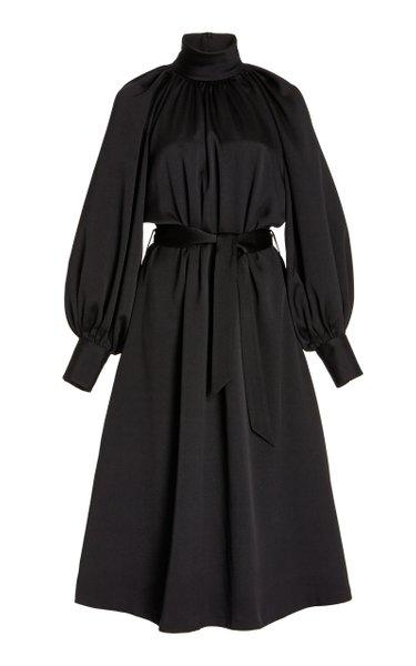 Puff-Sleeve Silk Midi Dress