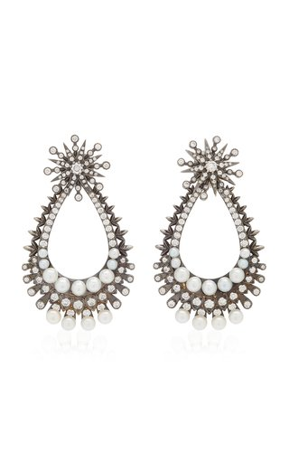 Perseus Convertible 18K Black Gold Diamond, Pearl Earrings