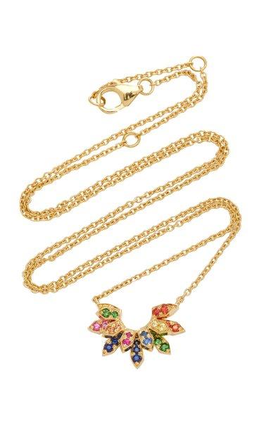 Mini Penacho 18K Yellow Gold Sapphire Necklace